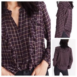 Madewell Plaid Ruffle Front Button Down Top